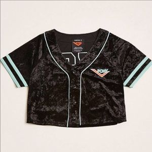 Pony velvet cropped baseball jersey